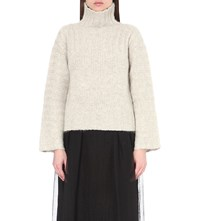 See By Chloe Oversized Knitted Turtleneck Jumper Aspen Lightgrey