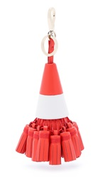Anya Hindmarch Traffic Cone Tassel Bag Charm Flame Red