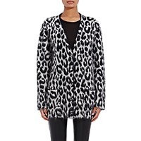 Saint Laurent Women's Leopard Pattern Oversized Cardigan Black White Black White