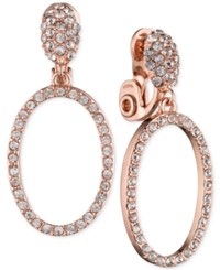 Anne Klein Rose Gold Tone Crystal Pave Gypsy Hoop Clip On Earrings