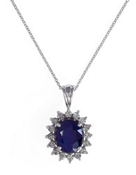 Effy Royalty 14K White Gold Diamond And Sapphire Pendant Blue
