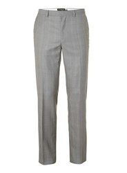 Topman Grey Check Slim Fit Suit Trousers Mid Grey