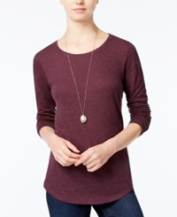 Maison Jules Long Sleeve Crew Neck Top Only At Macy's Plum Perfect