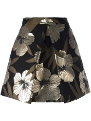 P.A.R.O.S.H. Metallic Grey Floral A Line Skirt