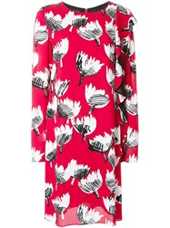 Boutique Moschino Floral Ruffle Dress Red