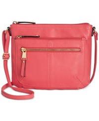 Tignanello Pretty Pockets Smooth Leather Crossbody With Rfid Protection Strawberry