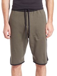 Public School Tryan Cotton Elongated Shorts Army Green
