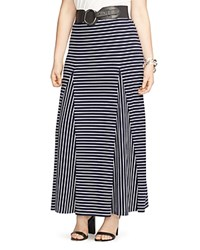 Lauren Ralph Lauren Plus Striped Godet Maxi Skirt Navy White
