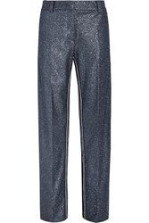 Cedric Charlier Glittered Crepe Wide Leg Pants Blue