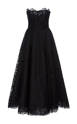 Georges Hobeika Strapless Lace Ankle Length Dress Black