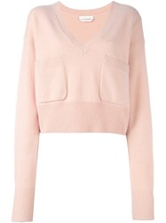 Chloe Patch Pocket V Neck Jumper Nude And Neutrals