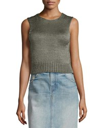Helmut Lang Cropped Silk Shell Tank Thyme