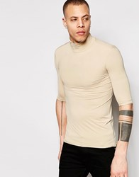 Weekday Tight T Shirt Turtle Neck Short Sleeve In Beige Beige 13 316