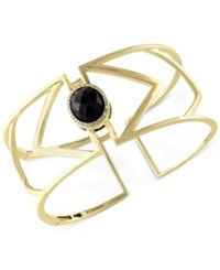 Effy Collection Eclipse By Effy Onyx 7 9 10 Ct. T.W. And Diamond 1 10 Ct. T.W. Openwork Geometric Bangle Bracelet In 14K Gold Black