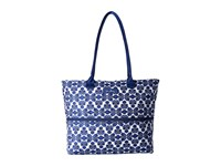 Vera Bradley Lighten Up Expandable Travel Tote Cobalt Tile Tote Handbags Blue