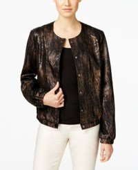 Inc International Concepts Metallic Snake Print Bomber Jacket Only At Macy's Deep Black