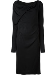 Maison Martin Margiela Boat Neck Draped Dress Black