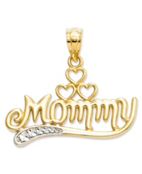 Macy's 14K Gold And Sterling Silver Charm Mommy Charm