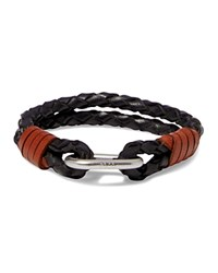 Polo Ralph Lauren Braided Leather Wrist Strap Bracelet Black