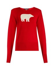 Perfect Moment Bear Intarsia Wool Sweater Red