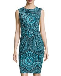 Muse Ruched Tribal Print Sleeveless Sheath Dress Turquoise Multi