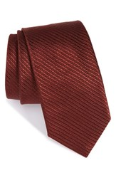 Boss Men's Geometric Silk Tie Red