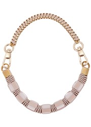 John And Pearl Blush Ribbon Gold Plated Necklace Light Pink