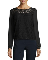 Laundry By Shelli Segal Long Sleeve Lace Blouse Black