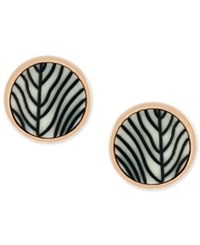 Vince Camuto Rose Gold Tone Engraved Acetate Stud Earrings