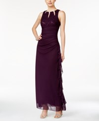 Betsy And Adam Sleeveless Embellished Lace Gown Plum
