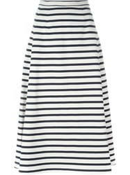 T By Alexander Wang Striped A Line Skirt White