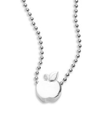 Alex Woo Sterling Silver Apple Icon Necklace