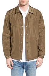 Obey Men's Baker Back Logo Water Resistant Coaches Jacket Dusty Army