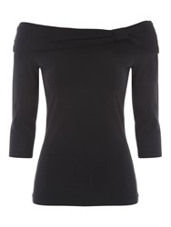 Jane Norman Essential 3 4 Length Sleeve Bardot Top Black