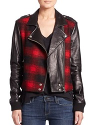 Paige Shelley Plaid Leather Moto Jacket Red Black