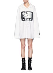 Fenty Puma By Rihanna Graphic Print Lace Up Front Hoodie White