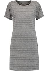 Current Elliott The Knit Tee Striped Jersey Mini Dress Gray