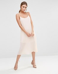 New Look Pleated Strappy Midi Dress Nude Beige