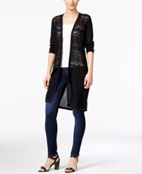 Jm Collection Three Quarter Sleeve Duster Cardigan Only At Macy's Deep Black