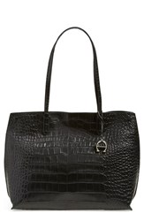 Etienne Aigner 'Penn' Leather Tote Grey Black Adige Croco