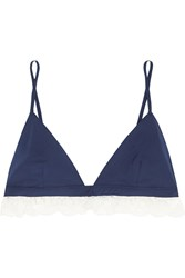 Raphaella Riboud Beverly Lace Trimmed Cotton Soft Cup Bra Navy