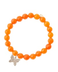 Sydney Evan 8Mm Orange Agate Beaded Bracelet With 14K Rose Gold Diamond Butterfly Charm Made To Order