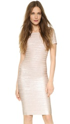 Herve Leger Carmen Foil Dress Rose Gold