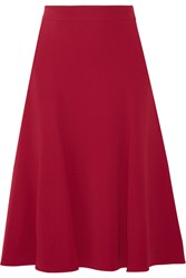Dolce And Gabbana Pleated Stretch Crepe Skirt Red