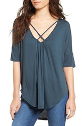 Lush Women's Cross Front Oversize Tee Midnight Navy