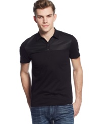 Guess Mesh Detail Polo Jet Black