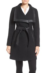 Jessica Simpson Women's Belted Basket Weave Wrap Coat Black