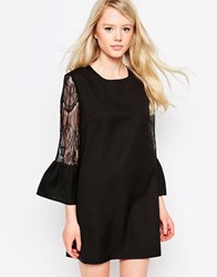 Jovonna Moonphase Dress With Lace Sleeves Black