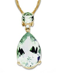 Lord And Taylor 14K Gold Diamond Green Amethyst Necklace Green Amethyst Gold