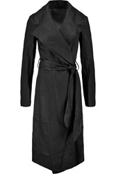 Donna Karan Leather Trimmed Coated Linen Trench Coat Black